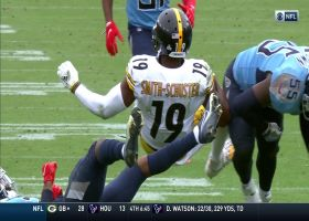 JuJu Smith-Schuster torpedoes past yellow line for first down