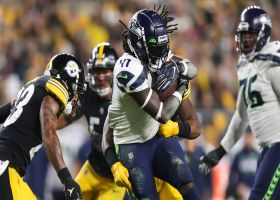 Alex Collins hits the hole for 21-yard pickup