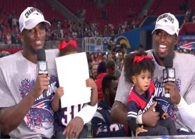 New England Patriots defensive backs and brothers Jason and Devin McCourty bring the whole family into postgame interview
