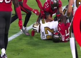 Jared Cook fumbles the ball away to Tampa Bay at the goal line