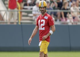Aaron Rodgers takes the field at Packers training camp