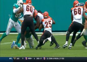 Giovani Bernard sneaks through Dolphins O-line for a first down