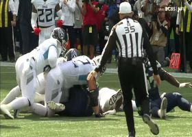 Kerry Hyder recovers fumble after Alton Robinson's crushing strip-sack